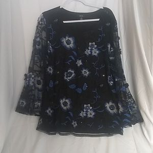 Alfani Blue And Black Embroidered Top